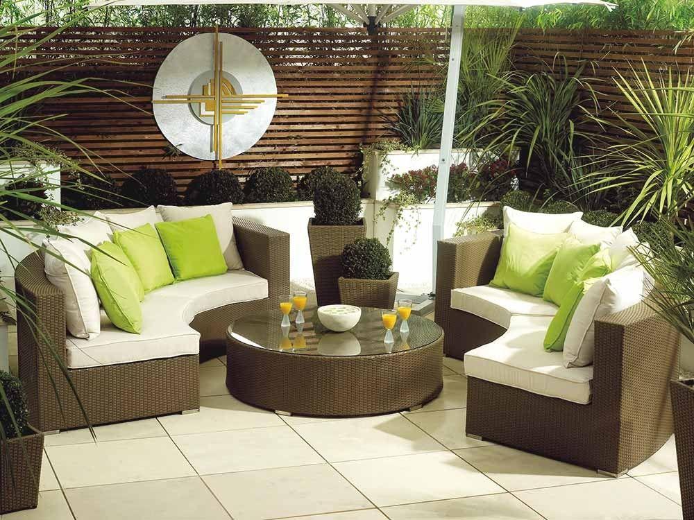 minimalist modern landscape design with rattan sofa   Natural Sunset Sofa - modern semi-circular synthetic ...