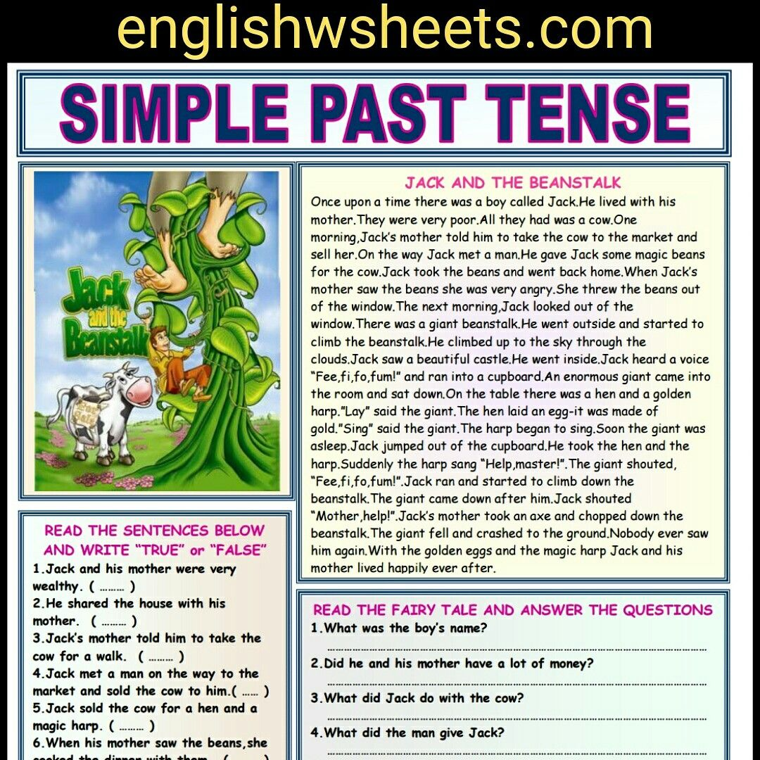 Jack And The Beanstalk Esl Reading Comprehension Worksheet For Kids Jack Beanstalk