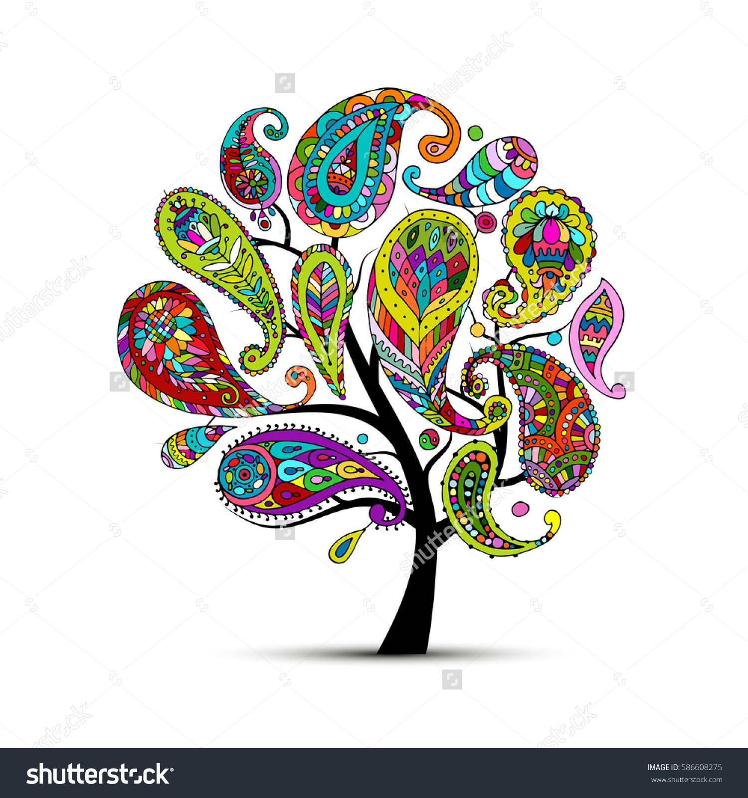 Paisley Ornament, Art Tree, Sketch For Your Design Vector Illustration