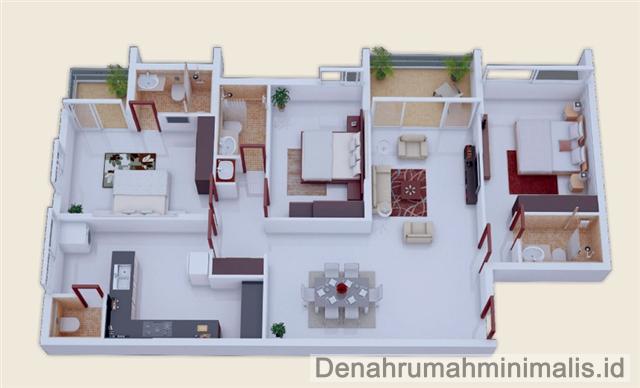 6 Denah Rumah Minimalis Sempit 3d 1 Lantai 3 Kamar Tidur Nie