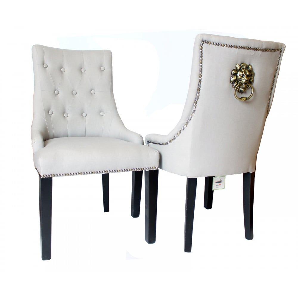 Contemporary Upholstered Black Velvet Silver Lion Knocker Dining ...