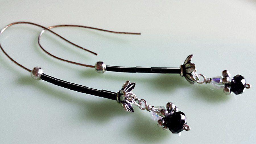 Mystic Black Crystal Earrings