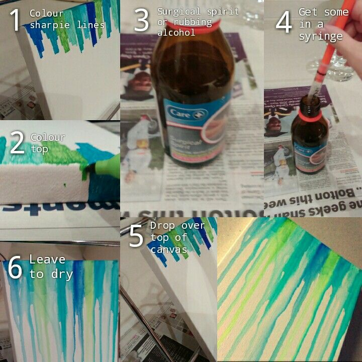 Easy art on a canvas using surgical spirit/rubbing alcohol