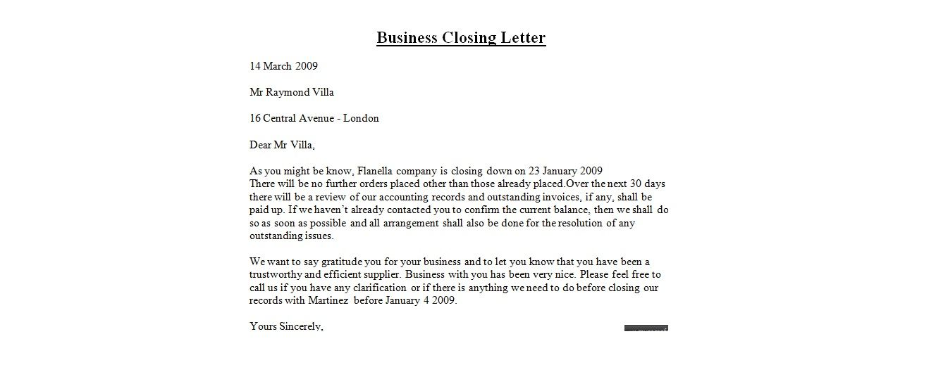 Letter Format Closing Best Template Collection Pictures The