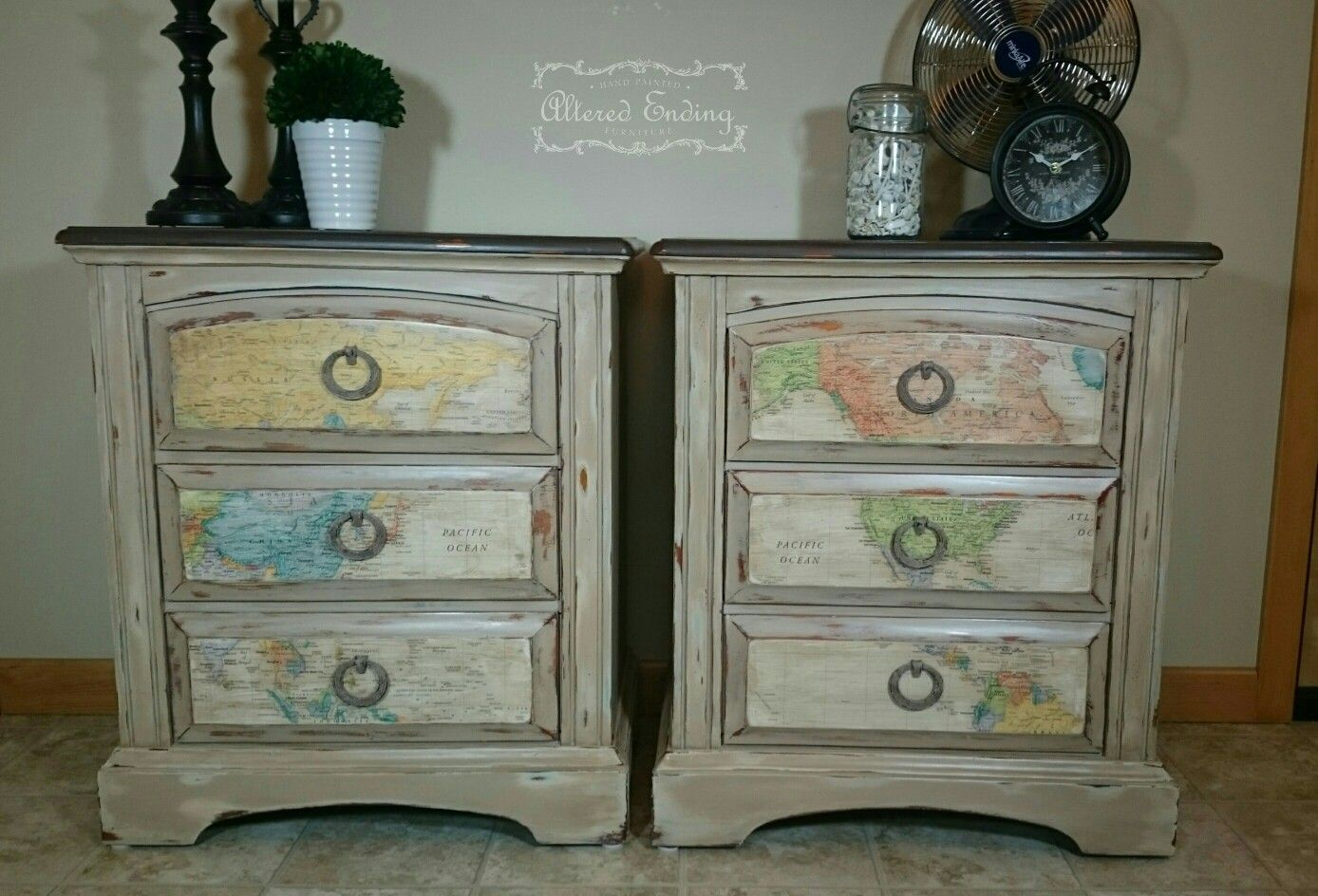 Map Decoupage Nightstands I Painted Them Using Heirloom Traditions Paint In Row House Irish Heirloom Traditions Paint Heirloom Traditions Painted Furniture