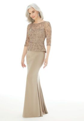 Fit and Flare Evening Gown with Embroidery on Net and Crepe | Morilee
