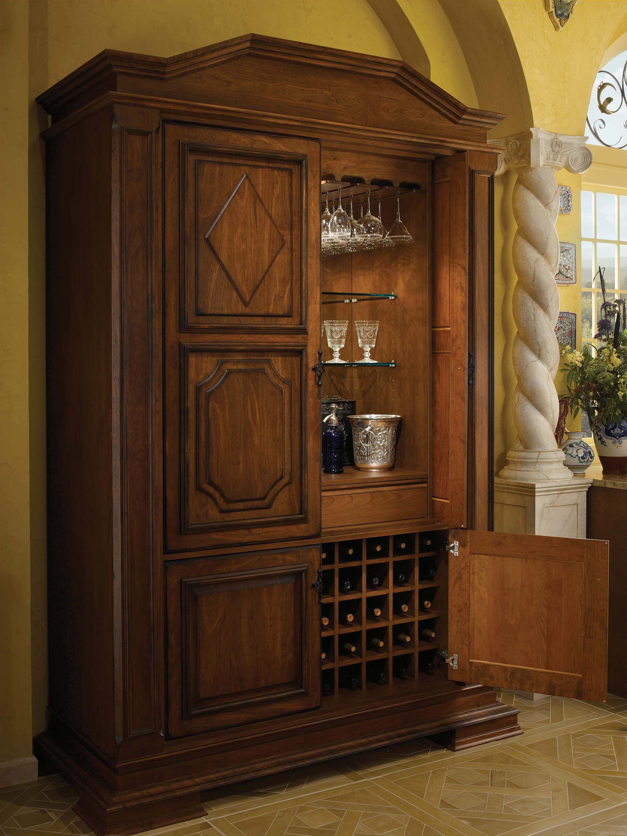Tall Bar Cabinet by Wood-Mode, shown in Antique Sienna finish on ...