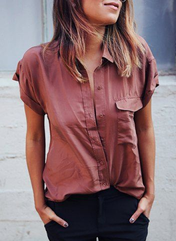 0c1964f6357 Stylish Turn-Down Collar Black Single-Breasted Long Sleeve Blouse ...