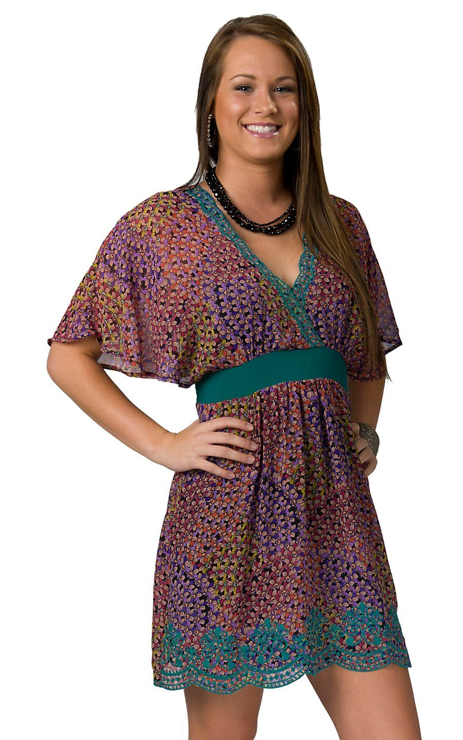 Flying Tomato® Women's Multicolored Floral Print w/ Turquoise Embroidery Short Sleeve Kimono Dress $44