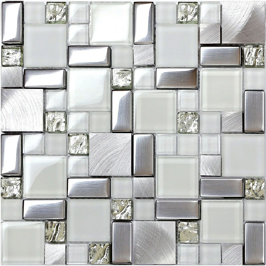 Home Wall White Glass Tile Silver Metal Blends Backsplash Kitchen