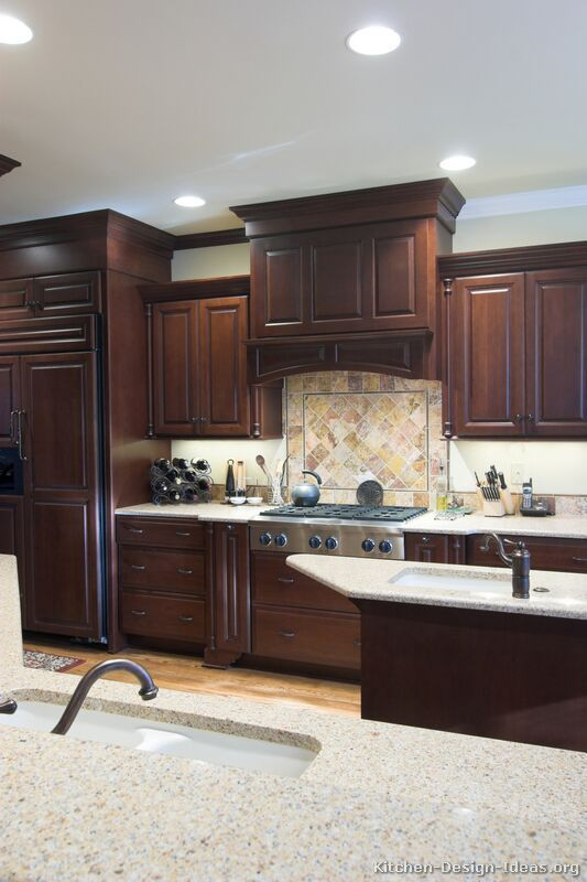 #Kitchen Of The Day: Dark Cherry Cabinets, Matching Refrigerator Panels, A  Decorative