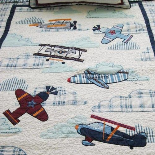 Airplane Applique Patchwork Bedspread 2pcs Quilt | Airplane fabric ... : airplane quilts - Adamdwight.com