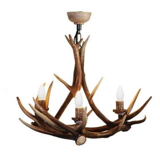 kronleuchter aus hirschgeweih mit 3 leuchten wohnhirsch - Hirsch Kronleuchter Set