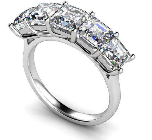 Five Stone Asscher Cut Square Emerald Wedding Ring 2 5 Carat Total