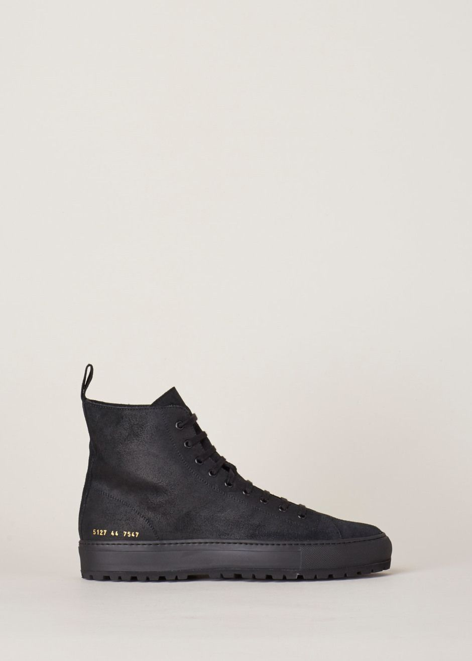 2ebe81baee Common Projects Waxed Suede Tournament High Lug Sneaker (Black) Common  Projects