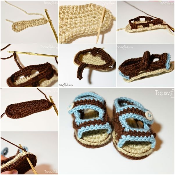 How to Crochet Sandals for Baby Boy | Baby Crochet Ideas | Pinterest