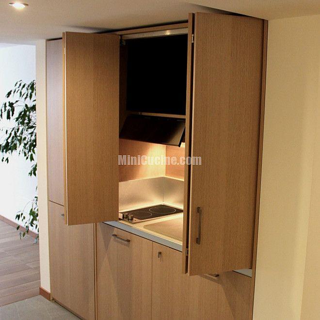 Cucine a scomparsa, Mini Cucine monoblocco | Rovere chiaro, Cucine e ...