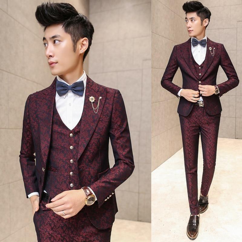 Mens 3pcs Set Suit Blazer Coat Slim Fit Korean Formal Pants Vests Wedding Party