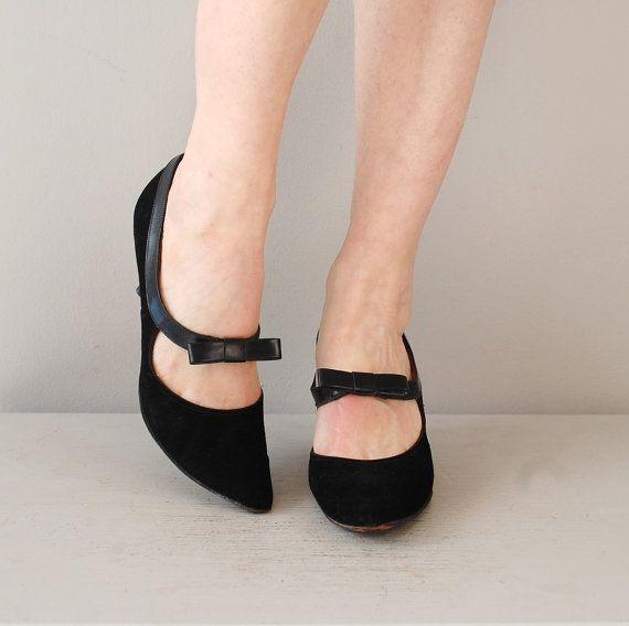 57f844d01fc Love these kitten shoes. vintage 60s heels   black 1960s mary janes   Lil   Kitten heels