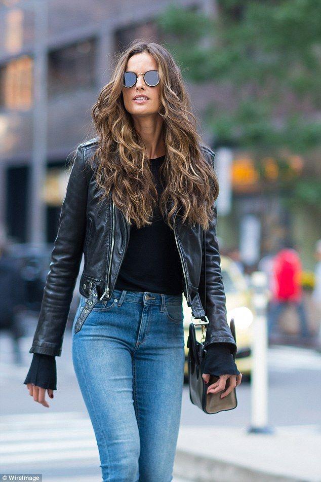Izabel Goulart is rocker chic in leather jacket ...