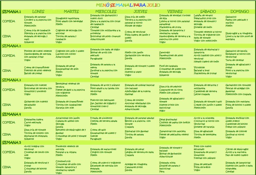 Resultado de im genes de men semanal sano y economico for Dieta familiar y planificacion de menus diarios y semanales