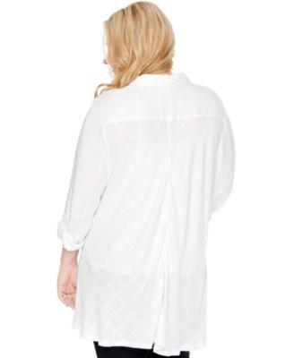Motherhood Maternity Plus Size Button-Front Blouse - Egret Plaid 1X