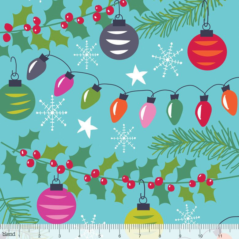 Trimmings Blue by Blend Fabrics - 1/2 Yard -  Maude Asbury - Christmas Tree Lights Fabric - Quilt Fabric - Treelicious - Holidays Fabric by Owlanddrum on Etsy