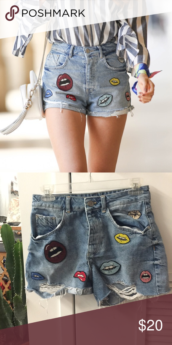 High Waisted Shorts With Lip Patches Cute And Fun High Waisted Shorts With Various Lip Patches Of Different Colours And Sizes Denim Ideas Fashion Cute Outfits