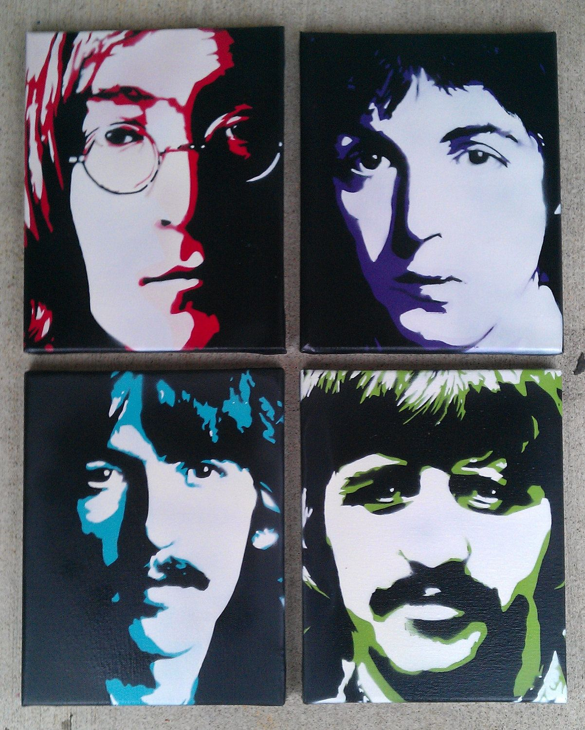 The Beatles - Set of 4, 8x10 inch Pop Art, Stencil Art Portraits on Stretched Canvas. $60.00, via Etsy.