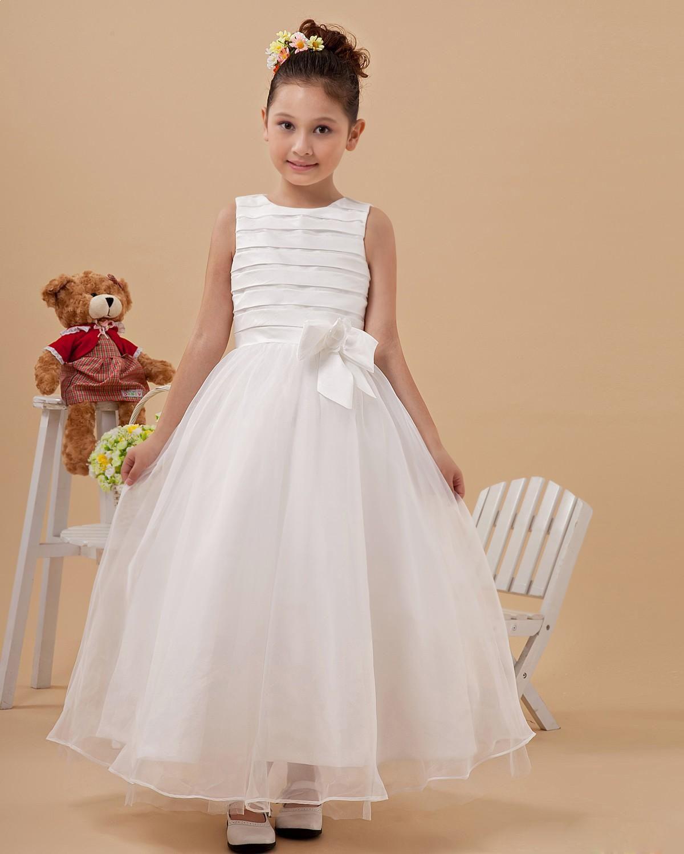 Bowknot organza ankle length flower girl dress wedding pinterest