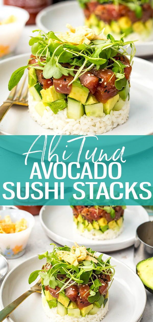 Ahi Tuna Sushi Stacks are a delicious copycat version of the ones on the menu at Canadian restaurant chain Cactus Club Cafe – with a sesame-soy marinade, avocado, cucumber & micro greens, it's a deliciously light dinner idea!