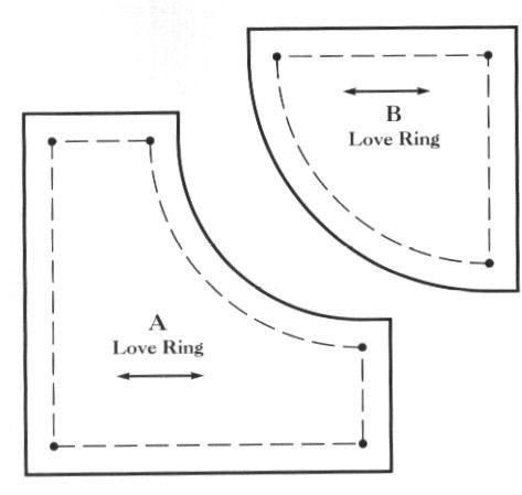 Love Ring Template. 2 layers of Drunkard's Path blocks