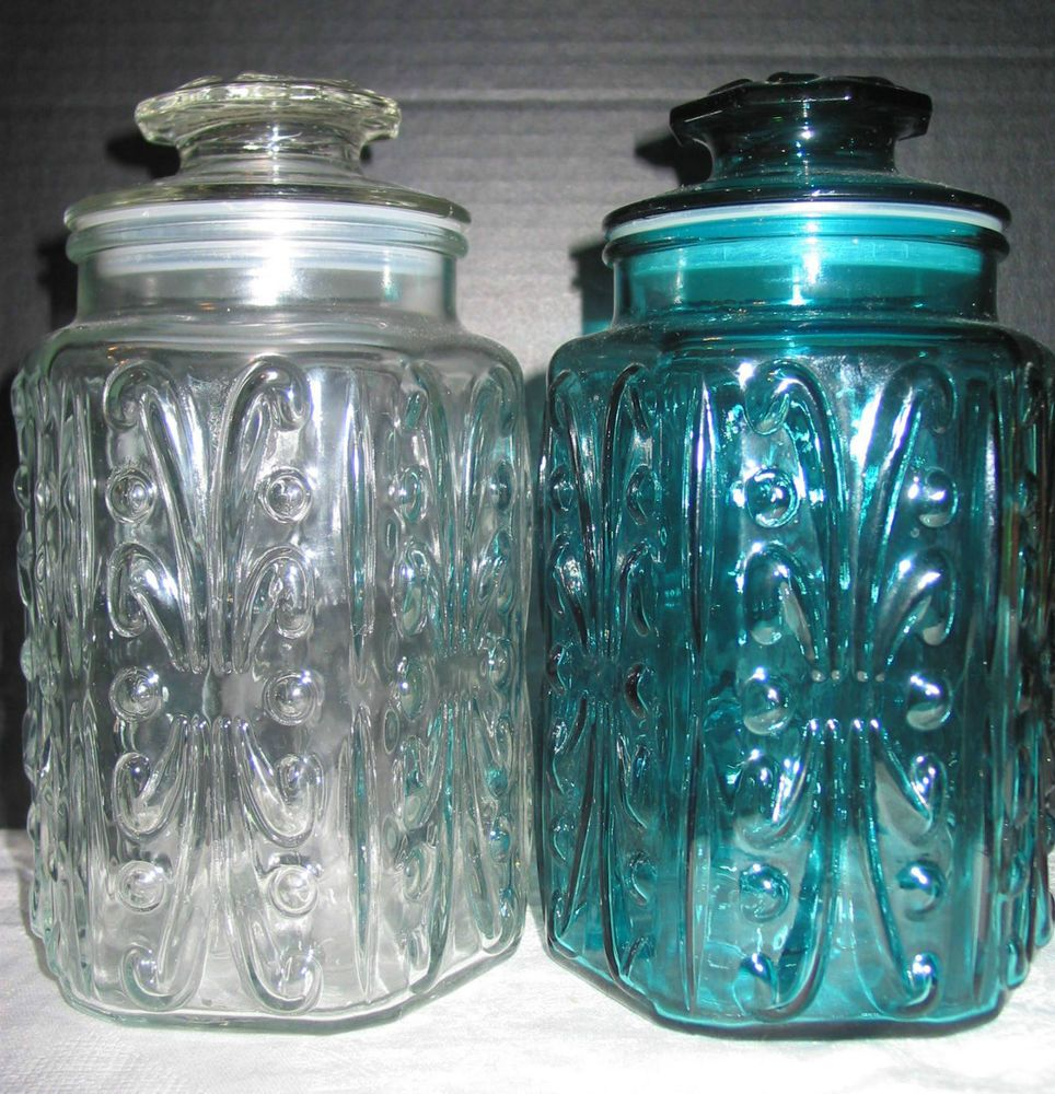 2 VTG Imperial Glass Atterbury Scroll Clear & Aqua Blue Canister ...