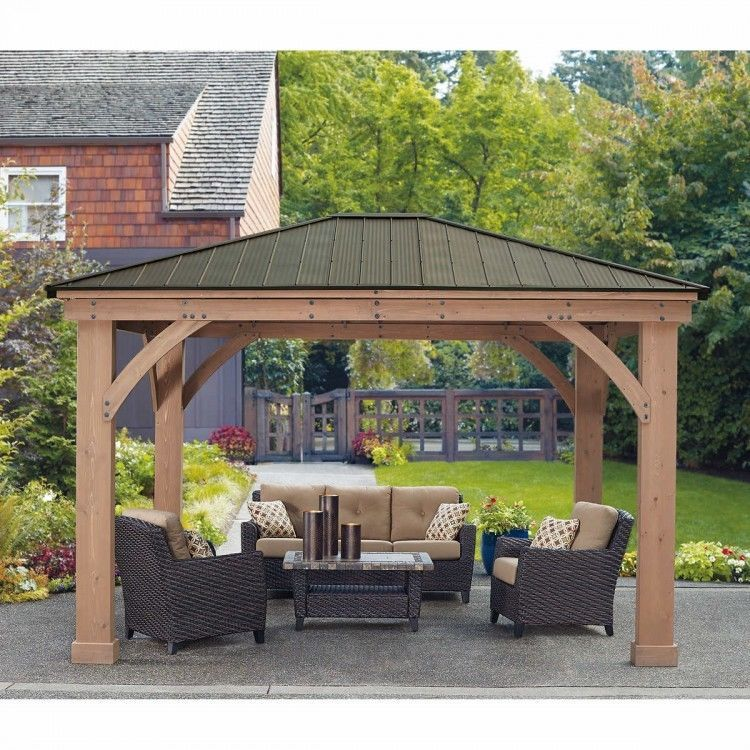 12 X 14 Wood Gazebo Heavy Duty Outdoor Aluminum Roof For Patio Sets Hot Tubs Spa 2 292 86end Date Jun 11 10 57buy It N Outdoor Pergola Pergola Plans Pergola