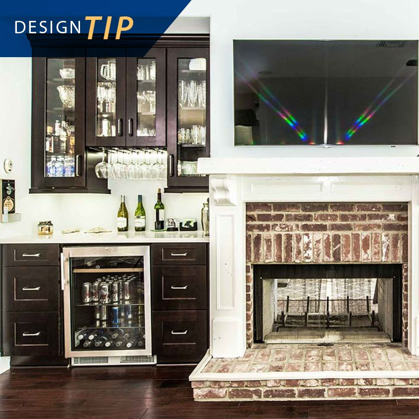 Design Tip Entertaining Is A Breeze With A Custom Wine Bar In 650 Cherry Java By Zelmar Kitchen Designs More In Orlando Cherry Cabinets Wine Bar Glass Decor
