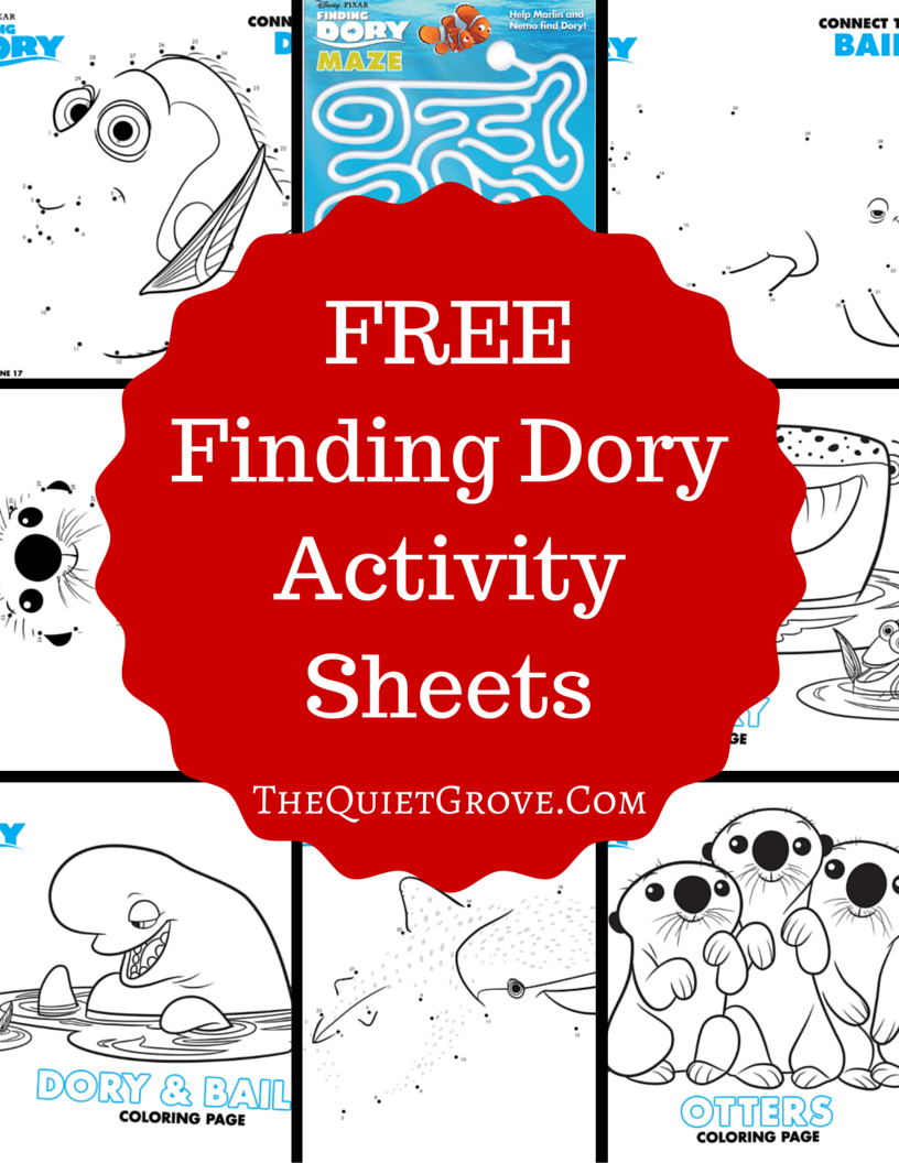 Free Finding Dory Activity Sheets | Activities, Free and Craft