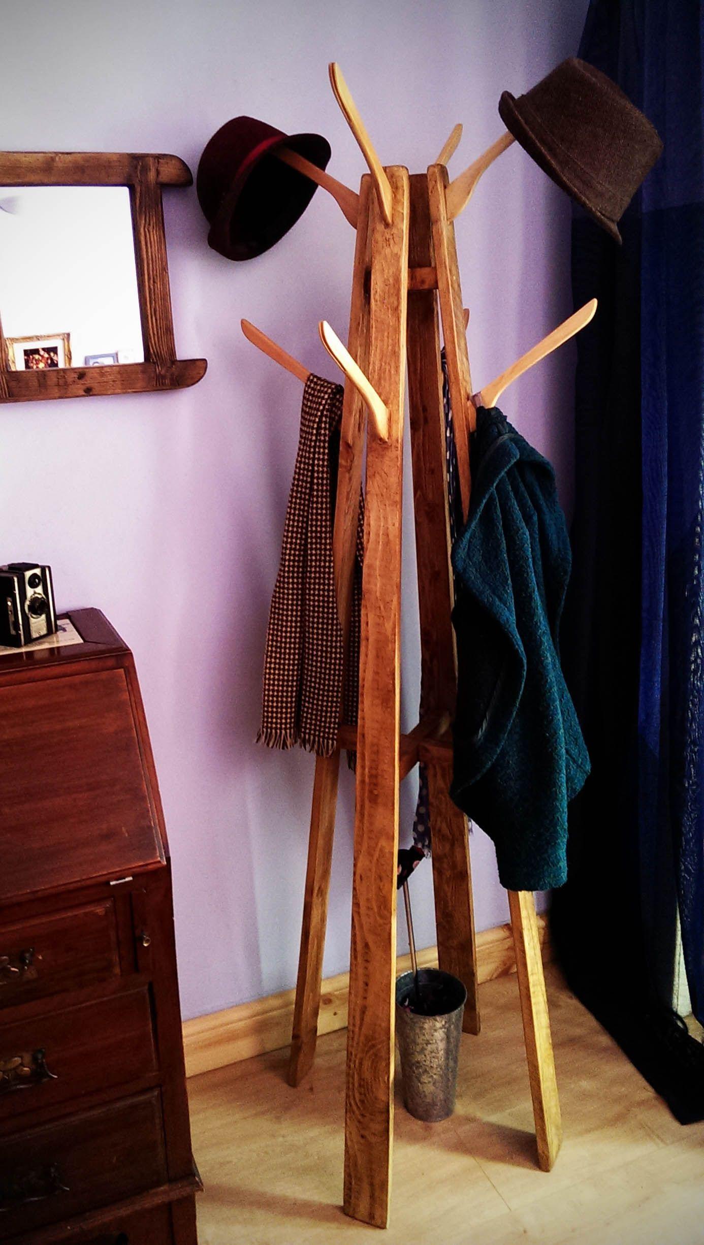 Coat And Hat Stand Reclaimed Wood With Repurposed Coat Hanger Hooks Furniture Repurposed Tree Hat And Coat Stand Coat Hanger Stand Diy Hat Rack