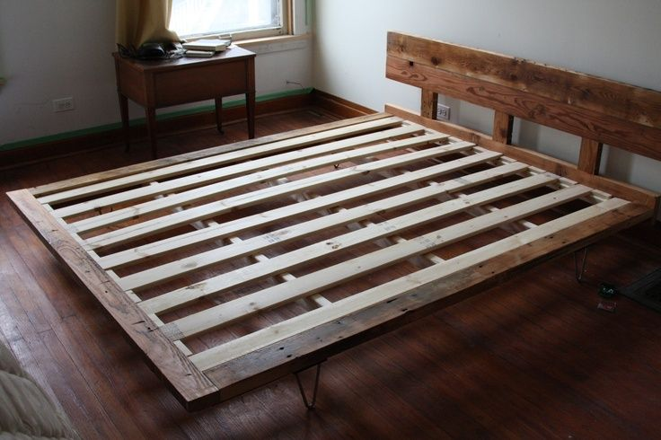 Reclaimed Wood Bedframe With Hairpin Legs Diy Furniture In 2018