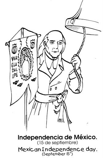 Mexican Independence day Miguel Hidalgo free coloring pages TX