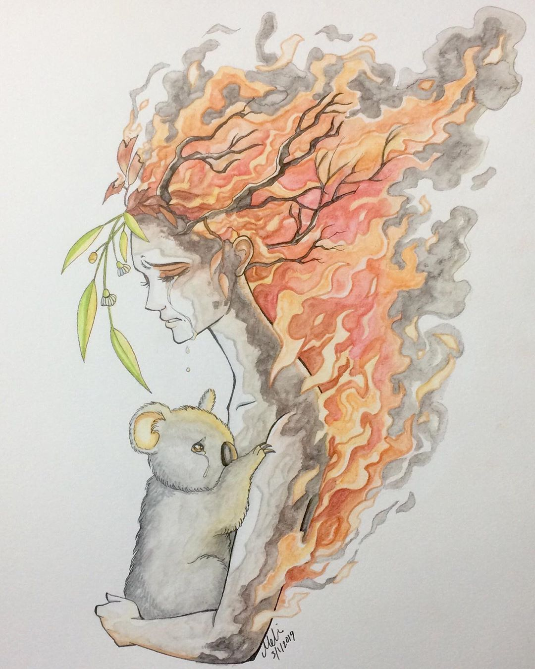 My Illustration For The Australian Bushfires I Can T Seem To Find Any More Words That Haven T Already Been Said Th In 2020 Earth Drawings Environmental Art Earth Art