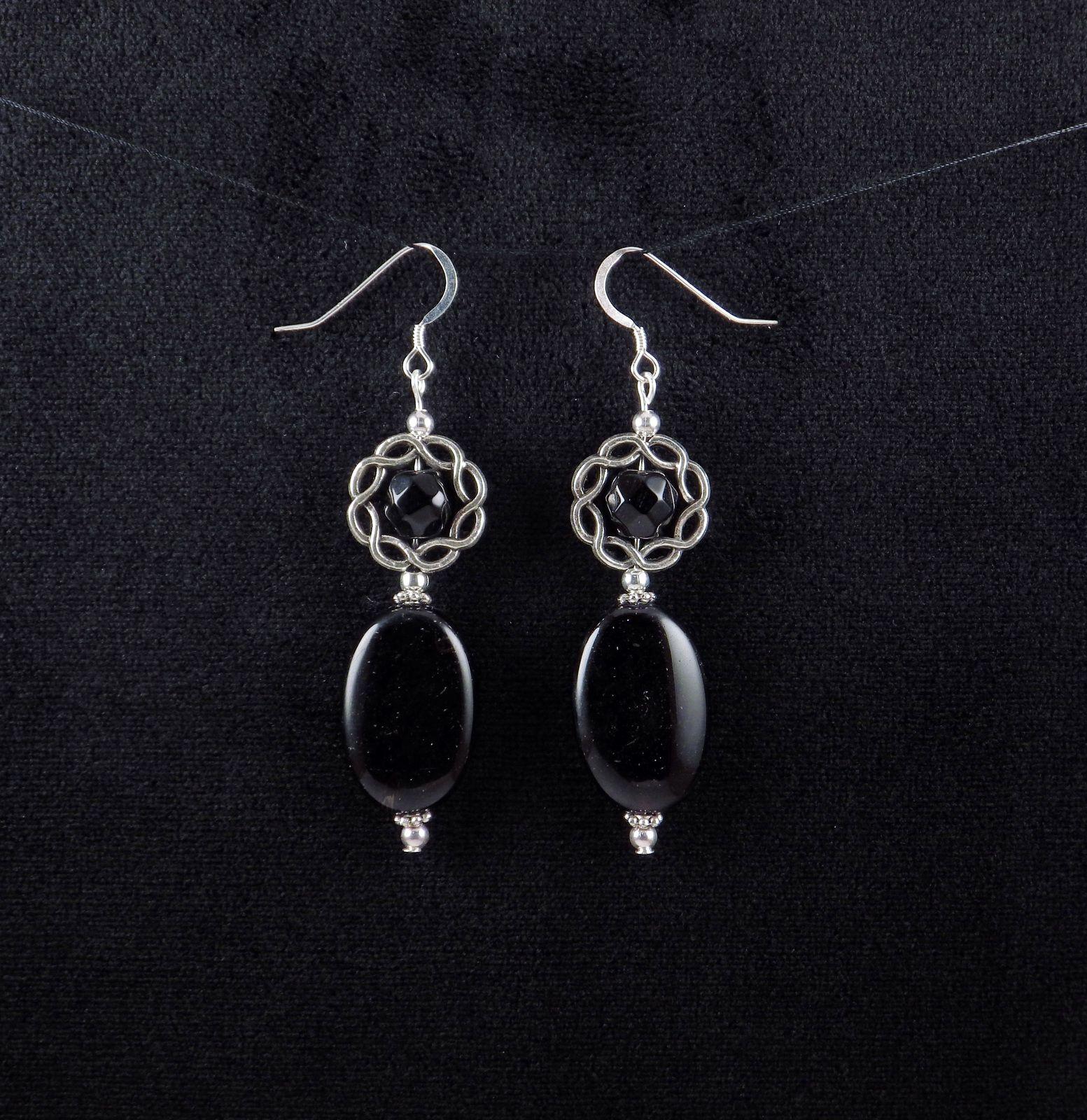 Handcrafted Black Glass Bead Silver Dangle Drop Earrings