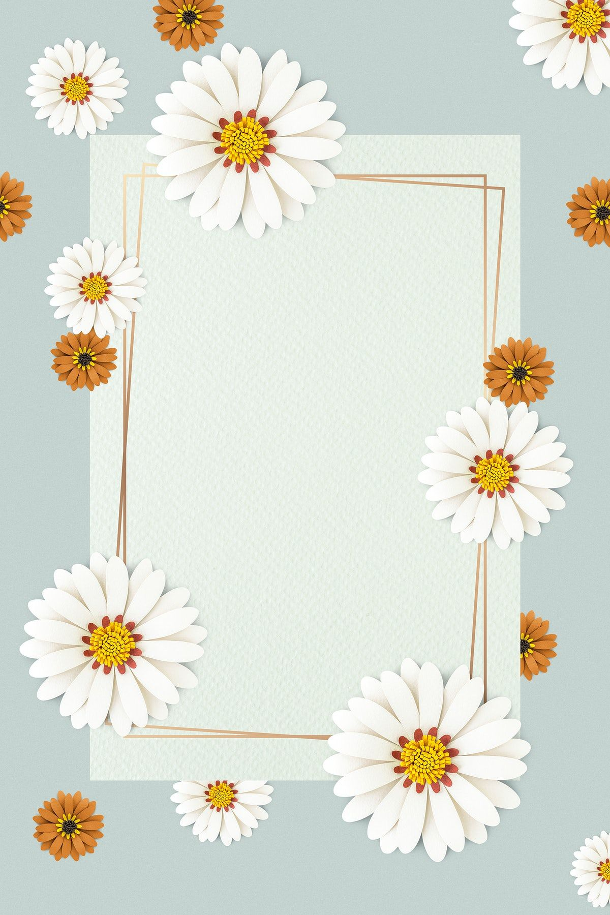 Download Premium Psd Of White Paper Craft Daisy Flower On Light Blue Background By Minty About Daisy Blue Frame Pattern Paper Texture And G