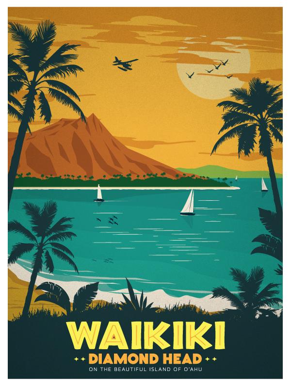 Vintage Inspired Travel Posters Hawaiian Islands On Behance Affiches Retro Affiche Vintage Affiches De Voyage