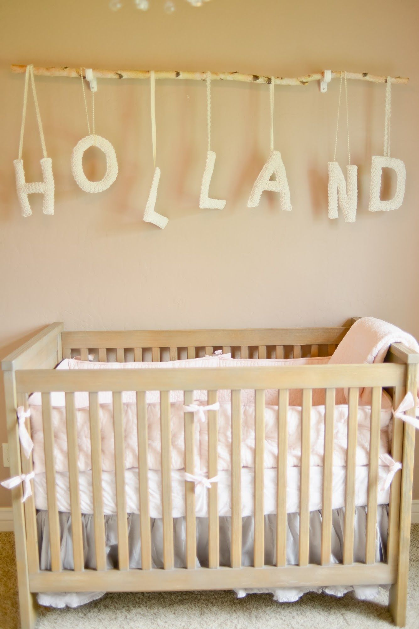 Marvelous Cute Nursery Ideas Part - 7: Cute Nursery Idea- Baby Name Strung From Painted Branch