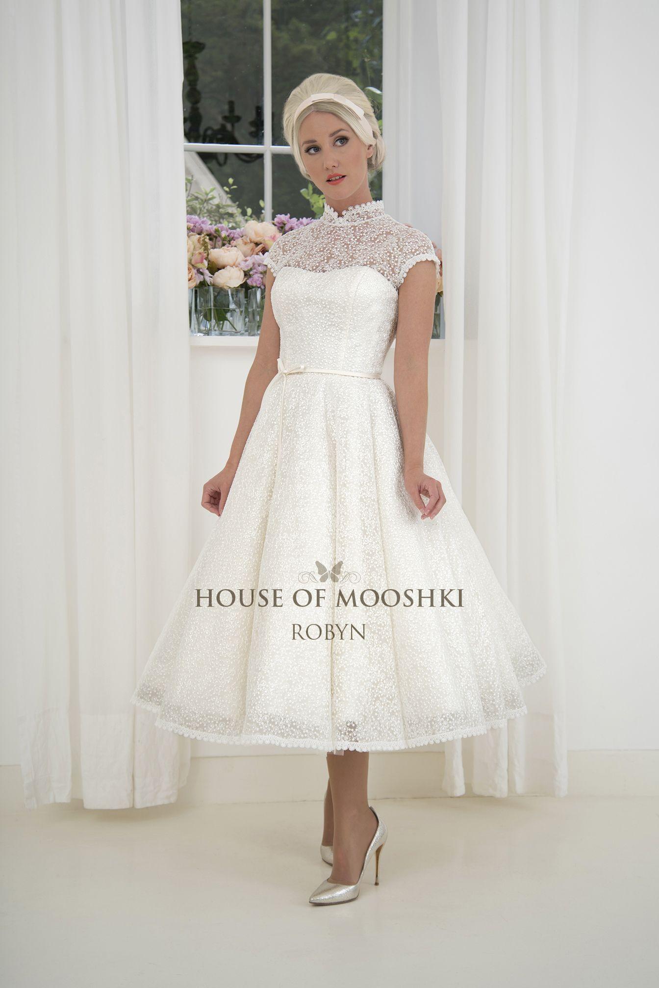 Robyn Adorable Short Calf Length Lace Wedding Dress With Dipped Bodice Mandarin Collar Short Wedding Dress Tea Length Wedding Dress Designer Wedding Dresses [ 2014 x 1344 Pixel ]