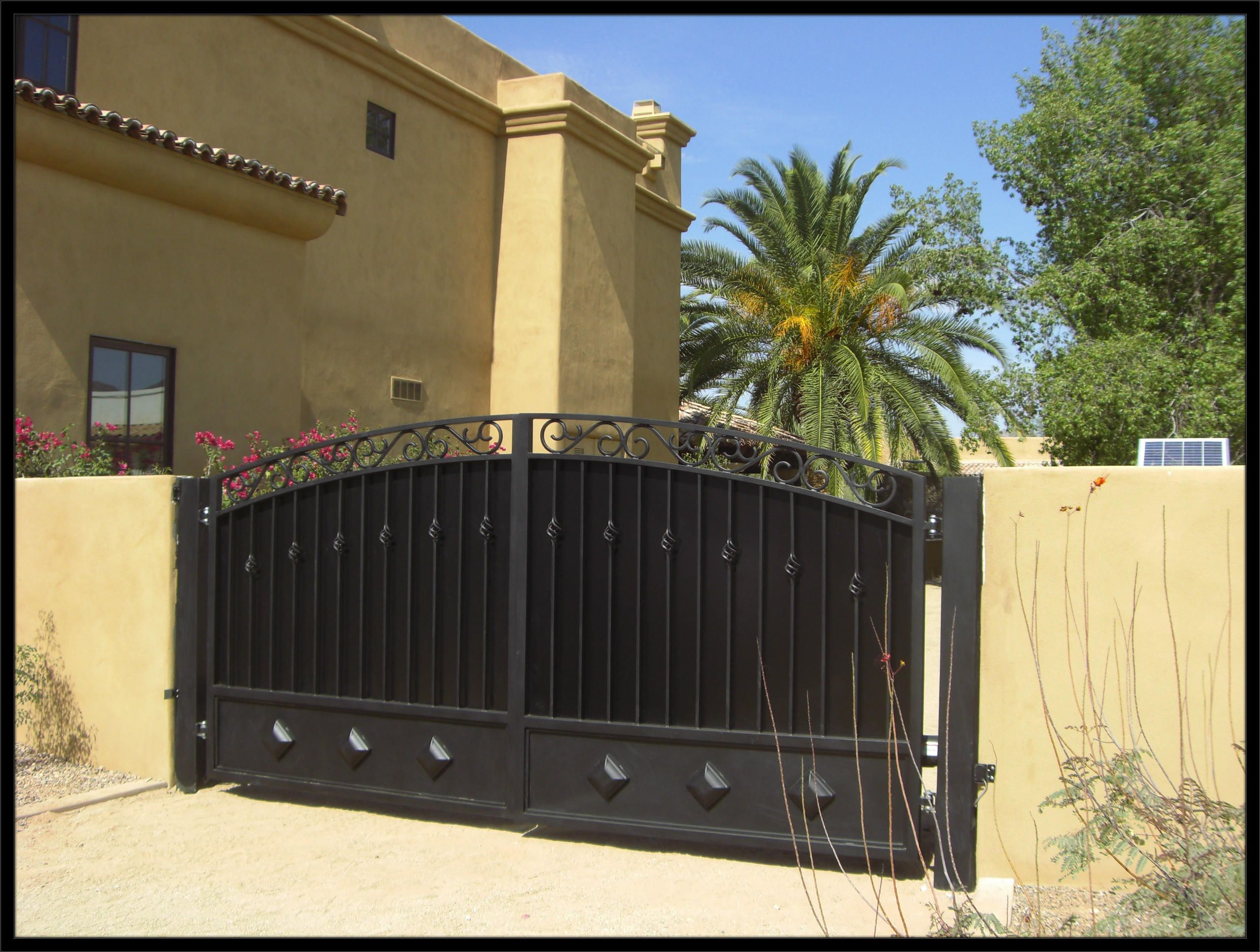Galvanized steel frame drive gate fence dallas wood gate - Courtyard Entry Gates Google Search Metal Driveway