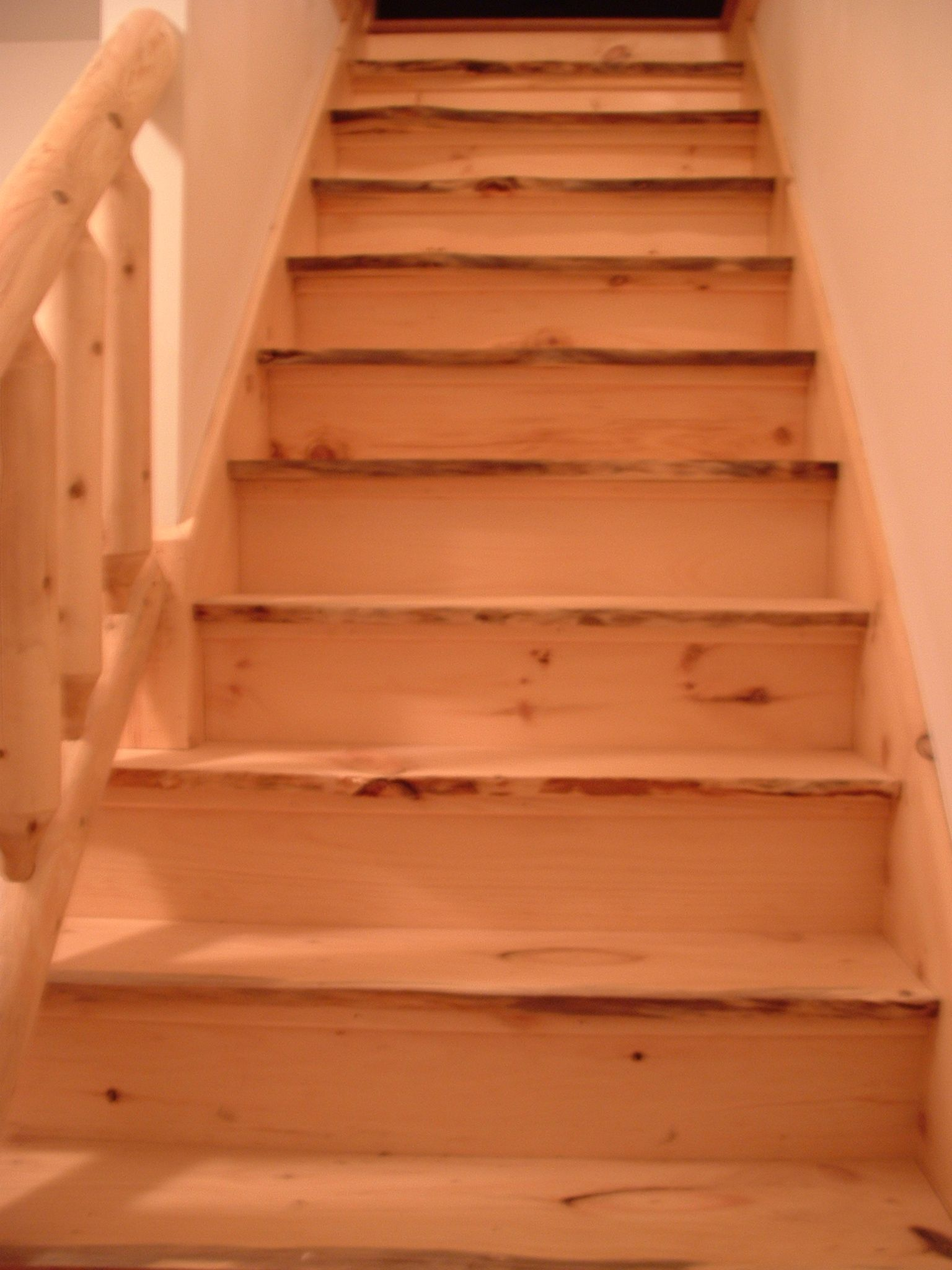 Portfolio Stair Remodel Pine Floors Home Remodeling | Live Edge Stair Treads | Stained | Build In Bench | Douglas Fir | Dark Risers | Barnwood