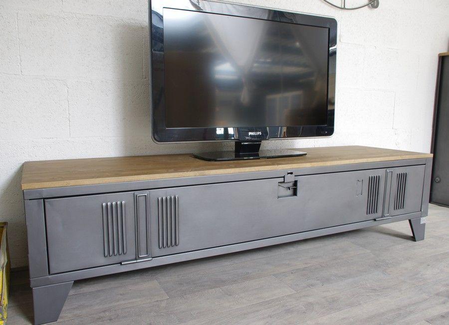 un meuble tv style industriel en bois et metal | Industrial ...
