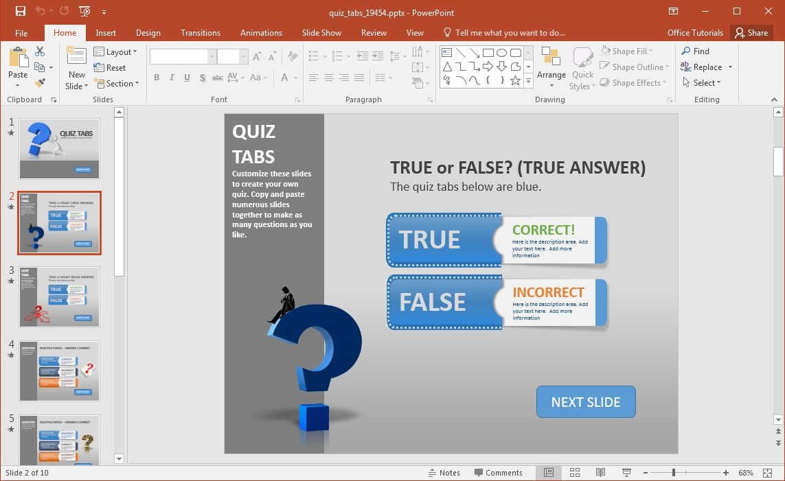 Create A Quiz In Powerpoint With Quiz Tabs Powerpoint Template With Quiz Show Template Powerpoint Gr In 2020 Powerpoint Quiz Template Powerpoint Powerpoint Templates