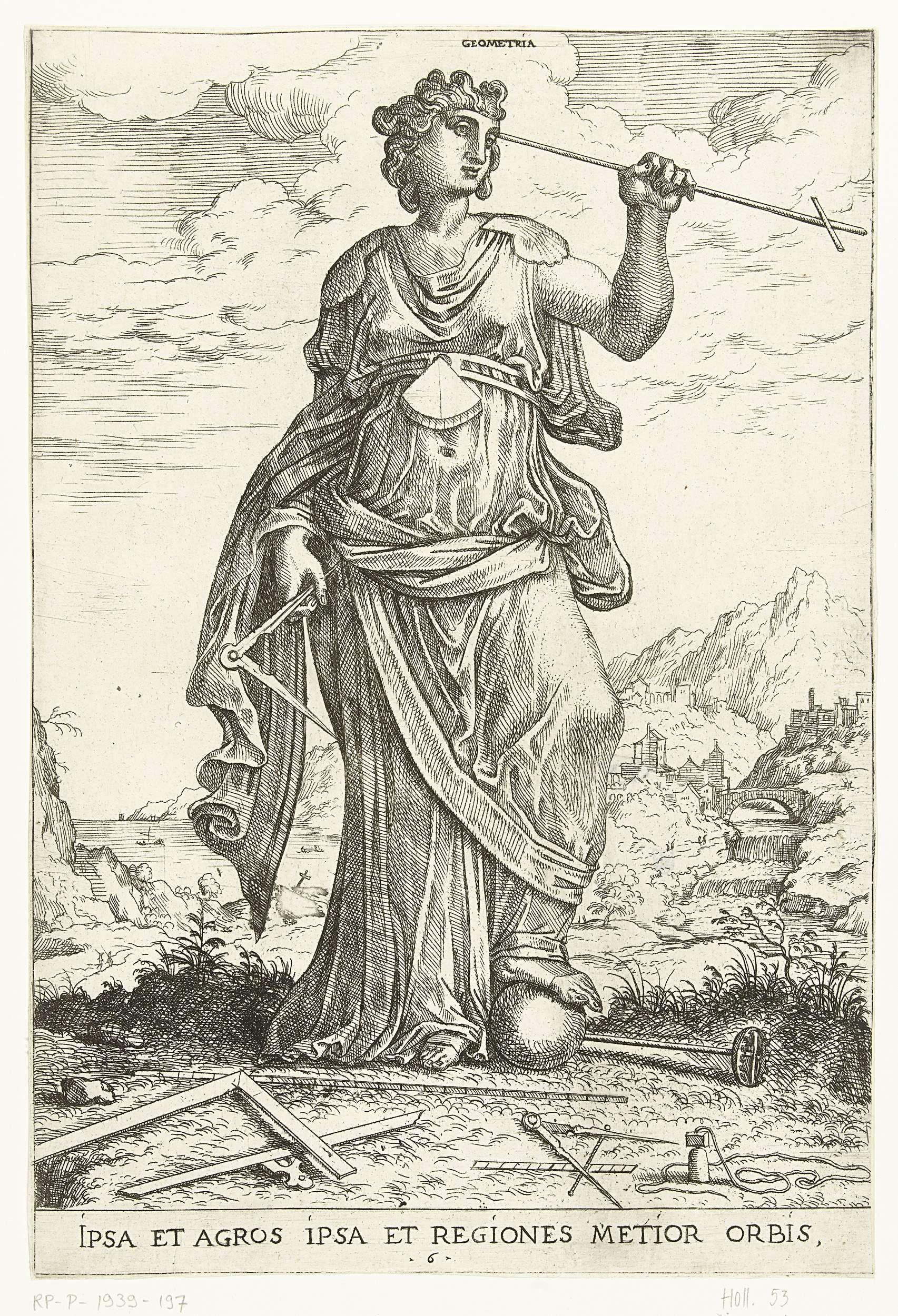 Hieronymus Cock | Geometria, Hieronymus Cock, Frans Floris (I), 1551 | Meetkunde (Geometria) staat met haar voet op een globe en houdt een passer in haar hand. Op de grond liggen een lineaal, een tekendriehoek, een passer en een meetlint. Rechts achter is een stad te zien. Door e stad loopt een rivier die net buiten de stad in een waterval uitkomt.